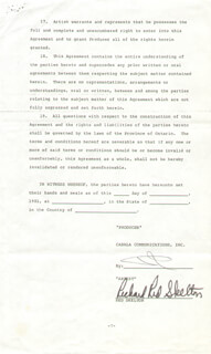 RED SKELTON - CONTRACT SIGNED 04/10/1981