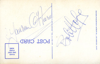 Autographs: BOB HOPE - PICTURE POST CARD SIGNED CO-SIGNED BY: MAUREEN O'HARA