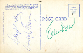 ELLEN DREW - PICTURE POST CARD SIGNED CO-SIGNED BY: LLOYD NOLAN, ADOLPHE MENJOU