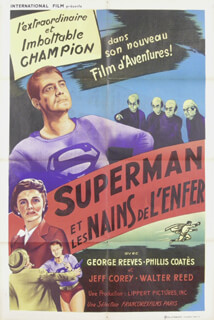 SUPERMAN AND THE MOLE MEN MOVIE CAST - POSTER UNSIGNED CIRCA 1951