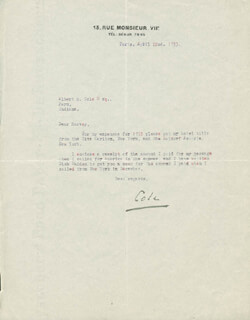 COLE PORTER - TYPED LETTER SIGNED 04/22/1933