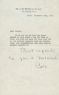 COLE PORTER - TYPED LETTER SIGNED 11/27/1928