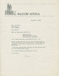 COLE PORTER - TYPED LETTER SIGNED 09/04/1940