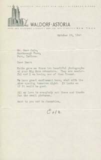COLE PORTER - TYPED LETTER SIGNED 10/29/1940