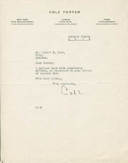 COLE PORTER - TYPED LETTER SIGNED 01/04/1938