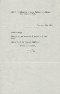 COLE PORTER - TYPED LETTER SIGNED 02/22/1943