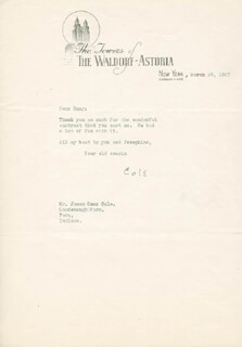 COLE PORTER - TYPED LETTER SIGNED 03/26/1947