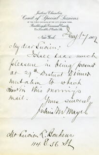 JULIUS M. MAYER - AUTOGRAPH LETTER SIGNED 01/17/1902