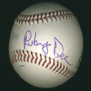Autographs: RUBY DEE - BASEBALL SIGNED CO-SIGNED BY: OSSIE DAVIS