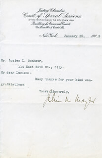 JULIUS M. MAYER - TYPED LETTER SIGNED 01/20/1902