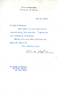 Autographs: GOVERNOR CHARLES S. WHITMAN - TYPED LETTER SIGNED 12/24/1903