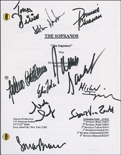 Autographs: THE SOPRANOS TV CAST - SCRIPT SIGNED CIRCA 1997 CO-SIGNED BY: LORRAINE BRACCO, JAMES GANDOLFINI, MICHAEL IMPERIOLI, STEVEN VAN ZANDT, TONY SIRICO, EDIE FALCO, STEVE SCHIRRIPA, DOMINIC CHIANESE, FEDERICO CASTELLUCCIO, KATHERINE NARDUCCI