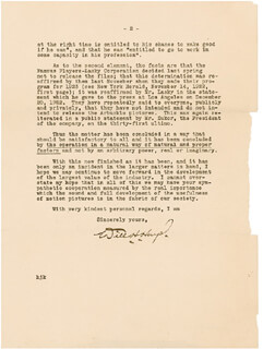 Autographs: WILL H. HAYS - TYPED LETTER SIGNED 02/09/1923