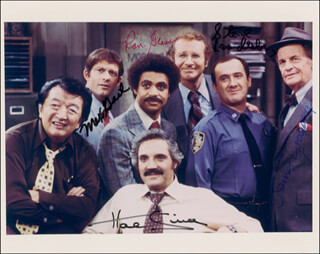 BARNEY MILLER TV CAST - AUTOGRAPHED SIGNED PHOTOGRAPH CO-SIGNED BY: JAMES GREGORY, STEVE LANDESBERG, RON GLASS, MAX GAIL, HAL LINDEN