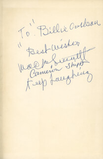 MACK THE KING OF COMEDY SENNETT - INSCRIBED BOOK PAGE SIGNED CO-SIGNED BY: CAMERON SHIPP