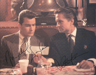 WALL STREET MOVIE CAST - AUTOGRAPHED SIGNED PHOTOGRAPH CO-SIGNED BY: MICHAEL DOUGLAS, CHARLIE SHEEN