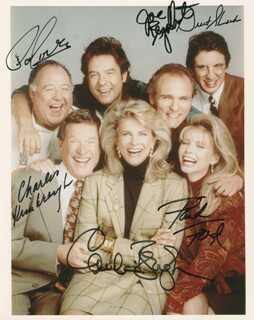MURPHY BROWN TV CAST - AUTOGRAPHED SIGNED PHOTOGRAPH CO-SIGNED BY: PAT CORLEY, FAITH FORD, CHARLES KIMBROUGH, JOE REGALBUTO, GRANT SHAUD, CANDICE BERGEN
