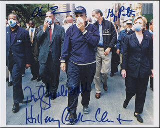 Autographs: MAYOR RUDOLPH RUDY GIULIANI - PHOTOGRAPH SIGNED CO-SIGNED BY: FIRST LADY HILLARY RODHAM CLINTON, CHUCK (CHARLES E.) SCHUMER, GEORGE PATAKI