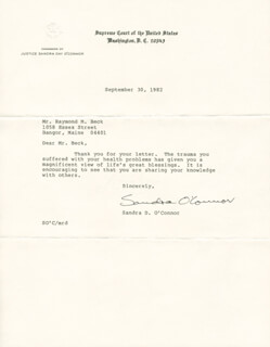 ASSOCIATE JUSTICE SANDRA DAY O'CONNOR - TYPED LETTER SIGNED 09/30/1982