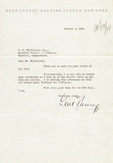 GENE TUNNEY - TYPED LETTER SIGNED 01/04/1934