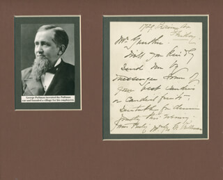GEORGE M. PULLMAN - AUTOGRAPH LETTER SIGNED