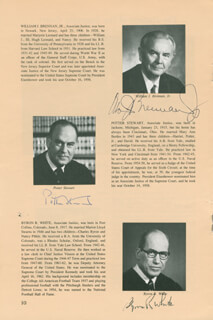Autographs: ASSOCIATE JUSTICE WILLIAM J. BRENNAN JR. - PAMPHLET SIGNED CO-SIGNED BY: ASSOCIATE JUSTICE BYRON R. WHITE, ASSOCIATE JUSTICE POTTER STEWART