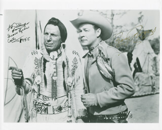 Autographs: IRON EYES CODY - INSCRIBED PHOTOGRAPH SIGNED 1985 CO-SIGNED BY: ROY ROGERS