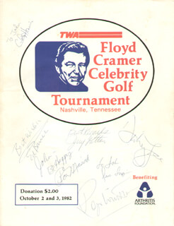 FLOYD MR. KEYBOARDS CRAMER - INSCRIBED PROGRAM SIGNED CO-SIGNED BY: SAM J. JONES, NORM CASH, PAT NORIUKI MORITA, JIMMY DEAN, CLAUDE AKINS, LLOYD BOCHNER, BRUCE WEITZ, SPANKY McFARLAND, FRANK PEE WEE KING, B. J. THOMAS, ED NELSON, JAMES HAMPTON, DON GALLOWAY, WOODY WOODBURY, RONNIE DOVE, GREGG (PALMER EDVIND LEE) PALMER, RONNIE PROPHET, MICKEY NEWBURY, DICK ANDERSON, OTTO GRAHAM, JOE CASEY, CHARLES MARTIN NEWTON