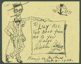 WALTER CATLETT - INSCRIBED SELF-CARICATURE SIGNED 10/04/1936 CO-SIGNED BY: HARRY BERESFORD