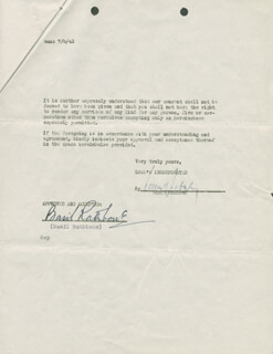 BASIL RATHBONE - CONTRACT SIGNED 10/05/1944