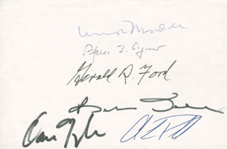 PRESIDENT GERALD R. FORD - AUTOGRAPH CO-SIGNED BY: VICE PRESIDENT DAN (JAMES DANFORTH) QUAYLE, VICE PRESIDENT SPIRO T. AGNEW, GENERAL COLIN L. POWELL, VICE PRESIDENT WALTER F. MONDALE, ROBERT J. BOB DOLE