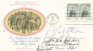 THE WILLIAM H. REHNQUIST COURT - FIRST DAY COVER SIGNED CO-SIGNED BY: ASSOCIATE JUSTICE BYRON R. WHITE, ASSOCIATE JUSTICE DAVID H. SOUTER, ASSOCIATE JUSTICE CLARENCE THOMAS, ASSOCIATE JUSTICE RUTH BADER GINSBURG, CHIEF JUSTICE WILLIAM H. REHNQUIST, ASSOCIATE JUSTICE JOHN PAUL STEVENS