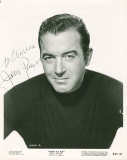 JOHN PAYNE - INSCRIBED PRINTED PHOTOGRAPH SIGNED IN INK