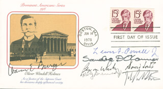 Autographs: CHIEF JUSTICE WARREN E. BURGER - FIRST DAY COVER SIGNED CO-SIGNED BY: ASSOCIATE JUSTICE BYRON R. WHITE, ASSOCIATE JUSTICE LEWIS F. POWELL JR., ASSOCIATE JUSTICE DAVID H. SOUTER, ASSOCIATE JUSTICE SANDRA DAY O'CONNOR, ASSOCIATE JUSTICE WILLIAM J. BRENNAN JR., ASSOCIATE JUSTICE JOHN PAUL STEVENS
