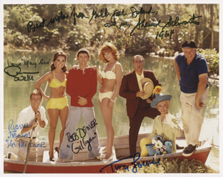 GILLIGAN'S ISLAND TV CAST - AUTOGRAPHED SIGNED PHOTOGRAPH 1964 CO-SIGNED BY: RUSSELL JOHNSON, BOB DENVER, TINA LOUISE, DAWN WELLS, SHERWOOD SCHWARTZ