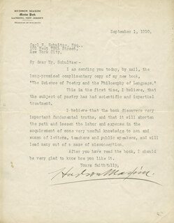 HUDSON MAXIM - TYPED LETTER SIGNED 09/01/1910
