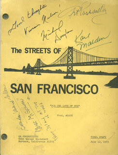 THE STREETS OF SAN FRANCISCO TV CAST - SCRIPT SIGNED CO-SIGNED BY: MICHAEL DOUGLAS, KARL MALDEN, VIVIAN NELSON, BRENDAN DILLON, ART PASSARELLA