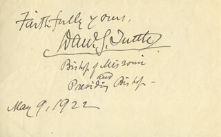Autographs: DANIEL S. TUTTLE - AUTOGRAPH SENTIMENT SIGNED 05/09/1922