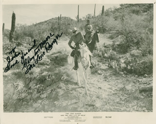 THE LONE RANGER AND THE LOST CITY OF GOLD MOVIE CAST - AUTOGRAPHED INSCRIBED PHOTOGRAPH CO-SIGNED BY: CLAYTON THE LONE RANGER MOORE, JAY TONTO SILVERHEELS
