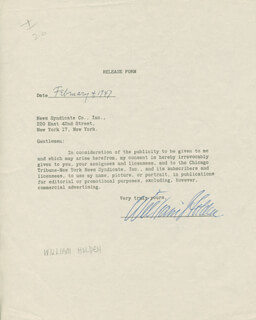 WILLIAM HOLDEN - DOCUMENT SIGNED 02/04/1947