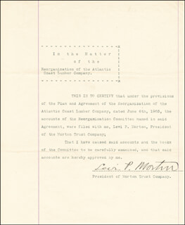 VICE PRESIDENT LEVI P. MORTON - DOCUMENT SIGNED
