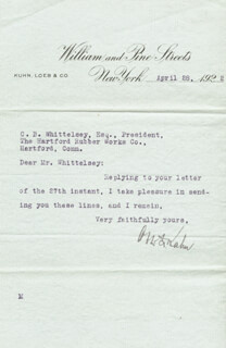 OTTO H. KAHN - TYPED LETTER SIGNED 04/28/1922