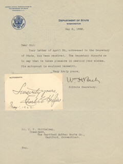 CHIEF JUSTICE CHARLES E HUGHES - AUTOGRAPH SENTIMENT SIGNED 05/01/1922