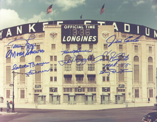 BILL MOOSE SKOWRON - AUTOGRAPHED SIGNED PHOTOGRAPH CO-SIGNED BY: CLETE BOYER, TOMMY BYRNE, PHIL RIZZUTO, ENOS SLAUGHTER, HANK BAUER