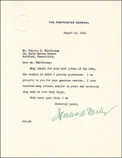 JAMES A. FARLEY - TYPED LETTER SIGNED 08/15/1940