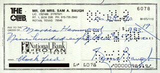 SAMMY BAUGH - AUTOGRAPHED SIGNED CHECK 11/28/1990  - HFSID 279272