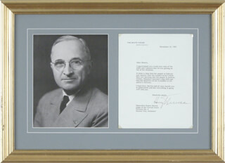 PRESIDENT HARRY S TRUMAN - TYPED LETTER SIGNED 11/12/1947