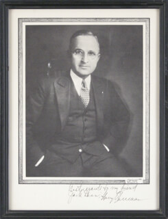PRESIDENT HARRY S TRUMAN - AUTOGRAPHED INSCRIBED PHOTOGRAPH