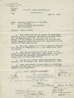 PRESIDENT FRANKLIN D. ROOSEVELT - TYPED LETTER SIGNED 06/19/1916 CO-SIGNED BY: ADMIRAL WILLIAM S. SIMS