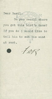 PRESIDENT FRANKLIN D. ROOSEVELT - TYPED NOTE SIGNED CIRCA 1925